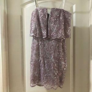 BCBGMaxAzria Dresses - Silver & Lilac BCBG Cocktail Dress - Size 0